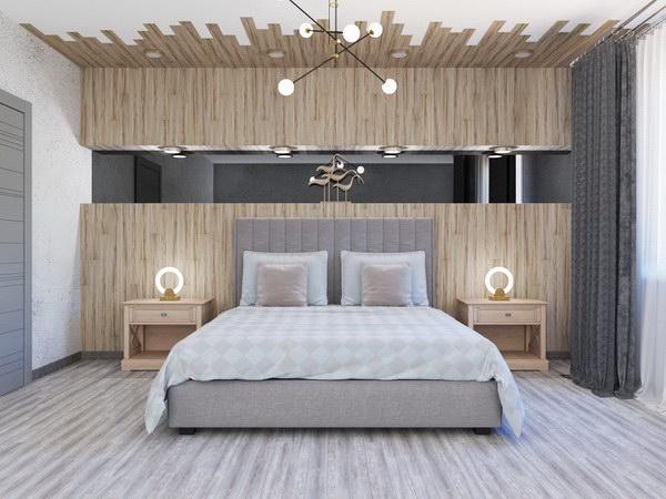 Каменно-полимерная плитка в интерьере спальни