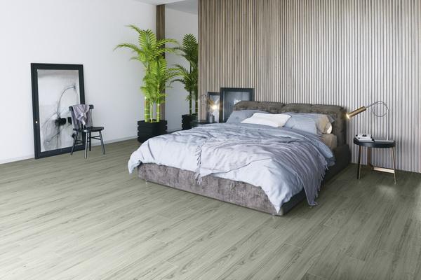 Виниловый пол Decoria в интерьере спальни