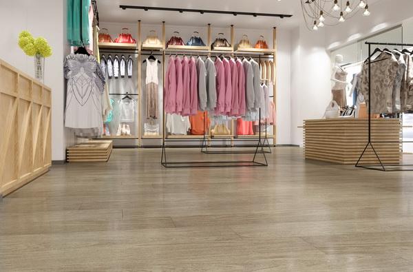 Кварцвиниловая плитка Decoria Office Tile в интерьере бутика