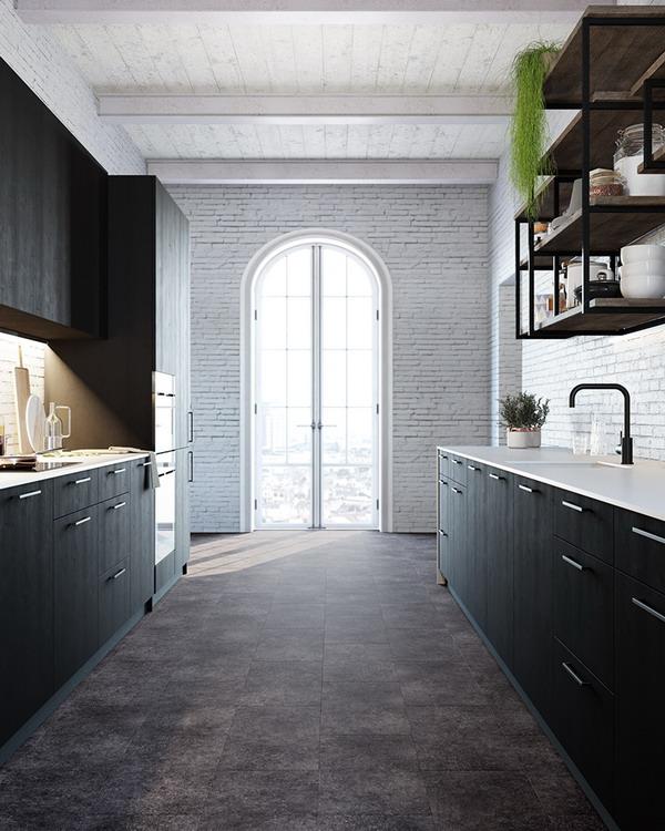 LVT плитка «ЛейРед» в интерьере кухни